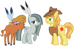 Size: 2093x1308 | Tagged: safe, braeburn, little strongheart, marble pie, buffalo, earth pony, pony, cute, feather, friendship, friendshipping, implied braeble, implied braeheart, looking at each other, marblebetes, smiling