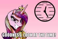 Size: 700x475 | Tagged: safe, artist:gray--day, princess cadance, alicorn, pony, caption, evil grin, female, grin, image macro, imminent shipping, look at the time, mare, meme, oh crap, princess of love, princess of shipping, run, run for your lives, shipper on deck, simple background, slasher smile, smiling, solo, text, with great power comes great shipping