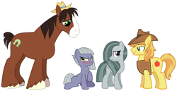 Size: 2095x1077 | Tagged: safe, braeburn, limestone pie, marble pie, trouble shoes, earth pony, pony, blushing, braeble, female, hearts and hooves day, holiday, limeshoes, looking at each other, male, not sure if want, pie sisters, shipping, siblings, sisters, size difference, smiling, straight, troublestone, valentine's day