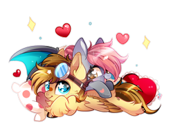 Size: 800x638 | Tagged: safe, artist:ipun, oc, oc only, oc:sandstorm, bat pony, pegasus, pony, chest fluff, chibi, deviantart watermark, female, goggles, heart, heart eyes, male, mare, obtrusive watermark, pillow, prone, simple background, stallion, starry eyes, transparent background, watermark, wingding eyes