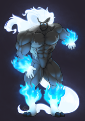 Size: 1440x2048 | Tagged: safe, artist:ponyanony, oc, oc only, anthro, earth pony, plantigrade anthro, abs, dark background, featureless crotch, glowing hands, male, mane of fire, muscles, pyromancy, signature, solo