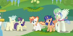 Size: 5617x2761 | Tagged: safe, artist:galaxyswirlsyt, oc, oc only, oc:flosun pollen, oc:galaxy swirls, oc:shine brine, oc:starling, changepony, hybrid, pony, unicorn, base used, female, male, mare, offspring, parent:comet tail, parent:fire streak, parent:flash sentry, parent:moondancer, parent:princess celestia, parent:sunset shimmer, parent:thorax, parent:twilight sparkle, parents:cometdancer, parents:flashlight, parents:sunsetstreak, parents:thoralestia, stallion