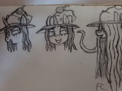 Size: 4032x3024 | Tagged: safe, artist:friendcelestia, oc, oc only, oc:hazel, oc:witch hazel, unicorn, candy, food, gingerbread witch, long mane, sketch, solo, traditional art, witch