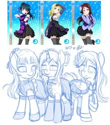 Size: 844x958 | Tagged: safe, artist:ratofdrawn, human, pony, unicorn, anime, clothes, dress, female, lineart, love live! school idol project, mare, ponified, raised hoof, sketch, smiling