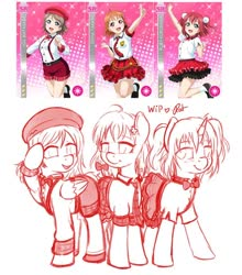 Size: 844x958 | Tagged: safe, artist:ratofdrawn, human, pony, unicorn, anime, beret, bow, bowtie, clothes, dress, female, hair bow, hat, lineart, love live! school idol project, mare, ponified, raised hoof, salute, sketch, smiling