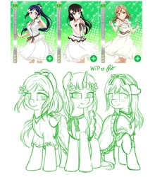 Size: 844x958 | Tagged: safe, artist:ratofdrawn, human, pony, unicorn, anime, clothes, dress, female, flower, flower in hair, lineart, love live! school idol project, mare, ponified, raised hoof, sketch, smiling