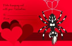 Size: 3156x2028 | Tagged: safe, artist:badumsquish, derpibooru exclusive, oc, oc only, hybrid, monster pony, original species, pony, spider, spiderpony, zebra, zebra spider, hanging, hanging upside down, heart, holiday, looking at you, male, pun, smiling, solo, spider web, valentine, valentine's day, valentine's day card, visual pun