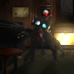 Size: 3000x3000 | Tagged: source needed, useless source url, safe, artist:cheshiresdesires, oc, oc only, oc:coxa, oc:mimesis, changeling, aniscoria, duo, fangs, fireplace, heart, male, musical instrument, piano, red changeling, smiling, tongue out