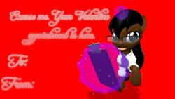 Size: 1920x1080 | Tagged: safe, artist:soad24k, oc, oc:soadia, pony, unicorn, 3d, clothes, gmod, holiday, outfit, secretary, text, valentine's day, valentine's day card