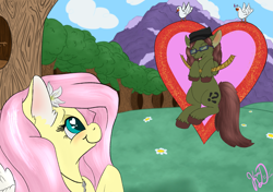 Size: 3637x2560 | Tagged: safe, artist:kayosdrive, fluttershy, oc, oc:kay, bird, dove, earth pony, pegasus, blushing, canon x oc, cloud, couple, cutie mark, eyes closed, female, field, flower, flower in hair, forest, glasses, hanging, hat, hearts and hooves day, holiday, jewelry, kayshy, key, male, mare, mountain, music notes, necklace, outdoors, shipping, singing, smiling, stallion, straight, tree, unshorn fetlocks, valentine, valentine's day, wingding eyes, wings