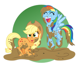 Size: 1280x1069   Tagged: safe, artist:tenderrain46, applejack, rainbow dash, earth pony, pegasus, pony, eyes closed, female, jumping, mare, mud, open mouth, simple background, smiling, transparent background