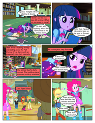 Size: 612x792 | Tagged: safe, artist:greatdinn, artist:newbiespud, edit, edited screencap, screencap, applejack, pinkie pie, snails, snips, sunset shimmer, twilight sparkle, comic:friendship is dragons, equestria girls, all fours, balloon, book, clipboard, clothes, collaboration, comic, cutie mark, cutie mark on clothes, dialogue, eyes closed, female, gym, hat, library, male, screencap comic, skirt