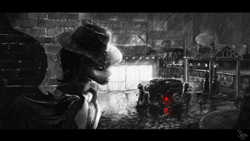 Size: 2000x1125 | Tagged: safe, artist:nemo2d, oc, oc only, bat pony, pony, bat pony oc, car, monochrome, neo noir, noir, partial color, rain