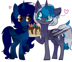 Size: 1293x1120   Tagged: safe, artist:bublebee123, oc, oc only, oc:elizabat stormfeather, oc:midnight, alicorn, bat pony, bat pony alicorn, pony, alicorn oc, bat pony oc, birthday, birthday cake, birthday gift, blushing, cake, candle, chest fluff, cute, ear fluff, female, food, heart, mare, plate, raised hoof, simple background, smiling, transparent background