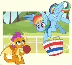 Size: 1200x1084 | Tagged: safe, artist:higgly-chan, rainbow dash, smolder, dragon, pegasus, pony, basket, buckball, buckbasket, bushel basket, cute, dragoness, duo, female, flying, looking at each other, mare, open mouth, outdoors, sitting, smiling, spread wings, wings