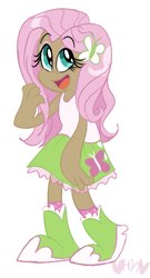 Size: 433x800 | Tagged: safe, artist:mirabuncupcakes15, fluttershy, human, equestria girls, boots, clothes, eyeshadow, female, human coloration, humanized, makeup, open mouth, shoes, simple background, skirt, socks, solo, tanktop, white background