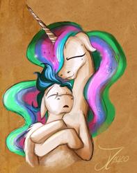 Size: 1304x1651   Tagged: safe, artist:jamescorck, princess celestia, oc, oc:dreamy daze, alicorn, pegasus, pony, canon x oc, female, male, part of a set, shipping, sleeping, straight