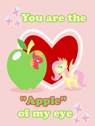 Size: 2160x2880 | Tagged: safe, anonymous artist, big macintosh, fluttershy, pony, series:fm holidays, apple, clothes, costume, female, flutterbat costume, fluttermac, food, giant food, heart, holiday, looking at each other, male, nervous grin, pointy ponies, pun, shipping, straight, sweat, sweatdrop, valentine, valentine's day, valentine's day card, visual pun