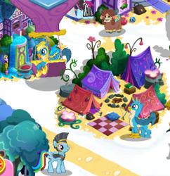 Size: 437x452 | Tagged: safe, gallus, photo finish, rainbow dash, yona, griffon, pony, yak, the last problem, spoiler:s09e26, campsite, gameloft, gameloft shenanigans, hot air balloon, older, older gallus, picnic blanket, royal guard gallus, self griffondox, tent