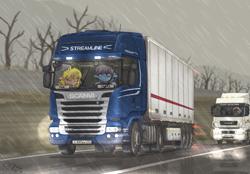 Size: 2480x1726 | Tagged: safe, artist:orang111, oc, oc:lynn, pony, unicorn, female, horn, kamaz, rain, scania, semi truck, truck, trucker
