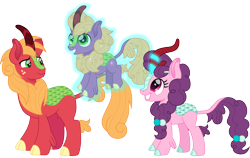 Size: 1500x947 | Tagged: safe, artist:cloudyglow, big macintosh, little mac, sugar belle, kirin, cute, family, female, freckles, glowing horn, horn, kirin-ified, levitation, magic, male, shipping, simple background, smiling, species swap, straight, sugarbetes, sugarmac, telekinesis, transparent background