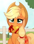 Size: 2156x2791   Tagged: safe, artist:ratofdrawn, applejack, earth pony, pony, blushing, chocolate, cute, daaaaaaaaaaaw, female, fence, food, holiday, jackabetes, looking at you, mare, mouth hold, solo, valentine, valentine's day