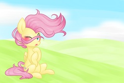 Size: 1200x800 | Tagged: safe, artist:distractedsketching, artist:theluckyangel, fluttershy, pegasus, pony, blushing, cute, female, folded wings, hooves to the chest, mare, one eye closed, open mouth, outdoors, shyabetes, sitting, solo, stray strand, three quarter view, windswept mane, wings