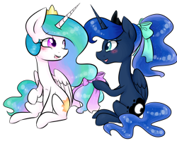 Size: 1000x800 | Tagged: safe, artist:distractedsketching, artist:theluckyangel, princess celestia, princess luna, alicorn, pony, alternate hairstyle, blushing, bow, crown, cute, cutelestia, duo, female, hair bow, jewelry, lunabetes, mare, open mouth, ponytail, profile, regalia, royal sisters, siblings, simple background, sisterly love, sisters, sitting, transparent background