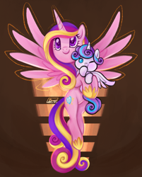 Size: 1261x1567 | Tagged: safe, artist:mn27, princess cadance, princess flurry heart, alicorn, pony, abstract background, baby, baby pony, cute, female, flurrybetes, hoof sucking, mare, mother and child, mother and daughter, one eye closed, spread wings, wings