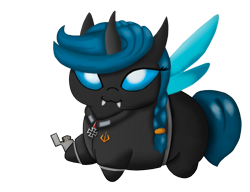 Size: 1791x1379 | Tagged: safe, artist:tiddo, oc, oc only, oc:protectress lilac, changeling, changeling queen, equestria at war mod, blue changeling, braid, changeling queen oc, chubbie, clothes, cute, fangs, hoof hold, lighter, simple background, solo, transparent background