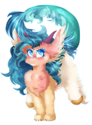 Size: 1768x2400 | Tagged: safe, artist:vanillaswirl6, oc, oc only, oc:morning seawave, hybrid, art trade, claws, fluffy, horns, legs in air, leonine tail, paws, simple background, solo, transparent background