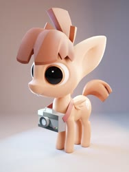 Size: 1200x1600 | Tagged: safe, artist:mortarroad, featherweight, pegasus, pony, big ears, big eyes, blender, blender cycles, bucktooth, camera, colt, male, simple background, solo, standing