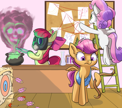 Size: 1800x1600 | Tagged: safe, artist:rocket-lawnchair, apple bloom, scootaloo, sweetie belle, earth pony, pegasus, pony, unicorn, arrow, bow, cupid, cutie mark crusaders, female, filly, flask, gas mask, ladder, laurel, laurel wreath, love poison, mask, pot, test tube, this will not end well