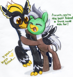 Size: 2004x2106 | Tagged: safe, artist:dawnfire, oc, oc only, oc:duk, oc:ping wing, bird, duck, hippogriff, pegasus, penguin, pony, cute, friendzone, hug, nervous, pegaduck, quack, quak, traditional art