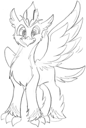 Size: 1482x2208 | Tagged: safe, oc, oc:ping wing, bird, hippogriff, penguin, happy, not nervous for once, solo