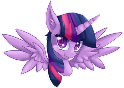 Size: 1920x1357 | Tagged: safe, artist:suziouwabami, twilight sparkle, alicorn, pony, bust, colored pupils, cute, ear fluff, female, looking at you, mare, portrait, simple background, solo, spread wings, transparent background, twiabetes, twilight sparkle (alicorn), wings