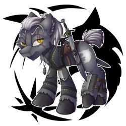 Size: 900x900 | Tagged: safe, artist:mychelle, earth pony, pony, armor, geralt of rivia, knife, male, ponified, simple background, solo, stallion, the witcher, transparent background