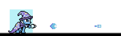 Size: 336x99 | Tagged: safe, trixie, pony, unicorn, arm cannon, cape, clothes, female, hat, mare, megaman, megapony, mockup, pixel art, solo, sprite, trixie's cape, trixie's hat, video game