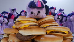 Size: 1920x1080 | Tagged: safe, artist:ponimalion, photographer:sometwifag, twilight sparkle, alicorn, original species, plush pony, burger, cheeseburger, food, hamburger, irl, multeity, photo, plushie, sparkle sparkle sparkle, twilight burgkle, twilight sparkle (alicorn), twiloaf