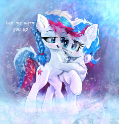 Size: 1548x1614 | Tagged: safe, artist:xbi, oc, oc only, oc:marussia, pony, braid, breath, chest fluff, cute, cyrillic, duo, hug, nation ponies, ponified, russia, russian, snow, winter