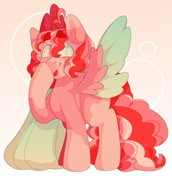 Size: 1383x1409 | Tagged: safe, artist:geisharozu, oc, oc:wuvey dovey, pegasus, pony, boop, female, mare, self-boop, solo, two toned wings, wings
