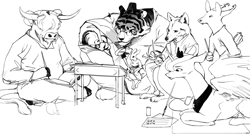 Size: 1280x718 | Tagged: safe, artist:redruin01, princess luna, oc, alicorn, anthro, big cat, deer, pony, rabbit, tiger, wolf, yak, animal, anthro oc, book, calligraphy, clothes, desk, glasses, grayscale, monochrome