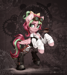 Size: 2000x2250 | Tagged: safe, artist:inowiseei, oc, oc only, oc:precious metal, pegasus, pony, abstract background, boots, bow, chest fluff, clothes, female, goggles, hair bow, high res, mare, rearing, shoes, smiling, solo, steampunk, ych result
