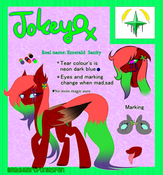 Size: 2800x3000 | Tagged: safe, artist:redheartponiesfan, oc, oc:jokey, pegasus, pony, female, mare, multicolored hair, reference sheet, solo