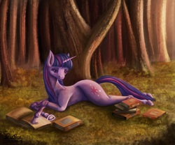 Size: 3985x3320 | Tagged: safe, artist:seven9988, twilight sparkle, pony, unicorn, book, female, forest, hoers, lying down, mare, prone, reading, solo, tree, unicorn twilight