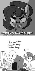 Size: 2250x4500 | Tagged: safe, artist:tjpones, oc, oc only, oc:brownie bun, oc:richard, earth pony, human, pony, horse wife, bald, bust, chest fluff, comic, dialogue, dio brando, female, grayscale, high res, jewelry, jojo's bizarre adventure, looking at you, male, mare, monochrome, necklace, newspaper, pearl necklace, simple background, straight, this will end in mild embarrassment, white background