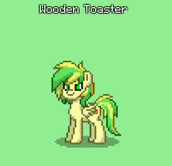 Size: 311x298 | Tagged: safe, oc, oc only, oc:wooden toaster, pegasus, pony, pony town, male, pixel art, screenshots, simple background, solo, stallion