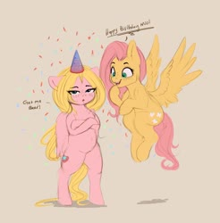 Size: 2783x2831 | Tagged: safe, artist:miokomata, fluttershy, oc, oc:mio, pegasus, pony, semi-anthro, belly button, birthday, confetti, dialogue, duo, female, floppy ears, freckles, freckleshy, hat, looking at you, mare, open mouth, party hat, pink background, simple background