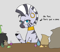 Size: 5000x4300 | Tagged: safe, artist:waffletheheadmare, zecora, zebra, bag, bags, blue eyes, bottle, cocaine, crack, doodle, drugs, ear piercing, earring, eye, eyelashes, half-closed eyes, jewelry, kettle, leaf, leaves, liquid, multicolored coat, multicolored hair, necklace, piercing, table, tentacles, text