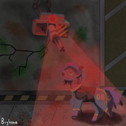 Size: 2000x2000 | Tagged: safe, artist:biglama, oc, earth pony, pony, fallout equestria, clothes, fanfic, fanfic art, female, hooves, mare, pipbuck, ruins, solo, suit, turret, vault suit